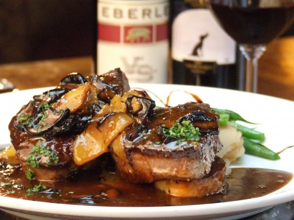 2-4 oz fillets with apples, mushrooms, Brandy and cream in a Veal Glaze.  Eberle wine