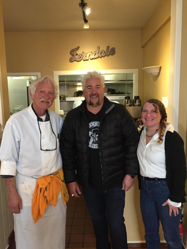 Guy Fieri with Karen Kentgen and Matthew Riley at the Farmhouse.