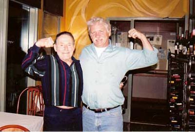 Jack LaLane with my self Matthew Riley.  Flexing for his 93rd Birthday at Matthew's at the Airport !!!